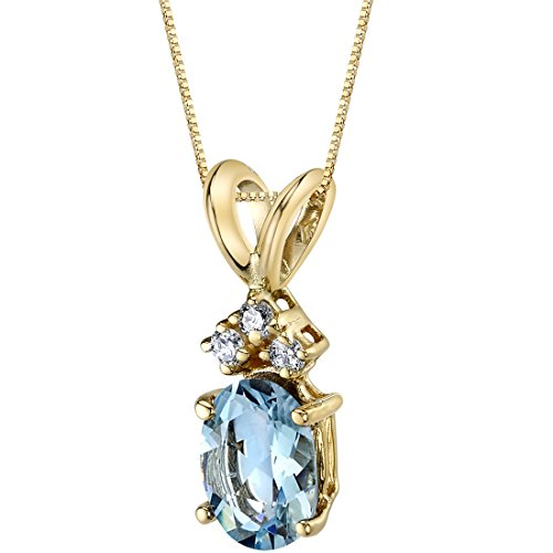 14 Karat Yellow Gold Oval Shape 0.75 Carats Aquamarine Diamond Pendant