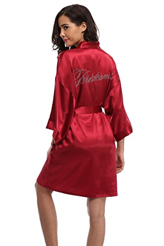 Women's Satin Rhinestone Short Wedding Kimono Robe for Bridesmaid, Red -