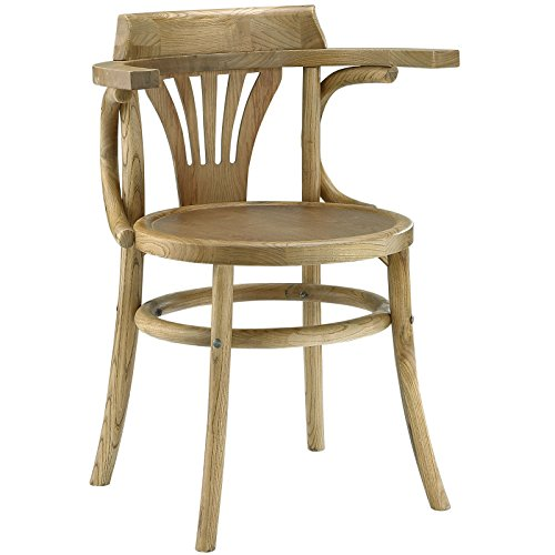 Modway Stretch Vintage Modern Elm Wood Dining Chair in Natural