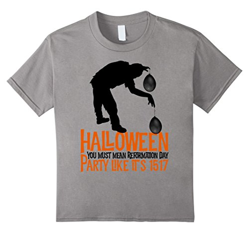 Kids Halloween You Must Mean Reformation Day Zombie T-shirt 10 Slate - Reformation Day Costumes