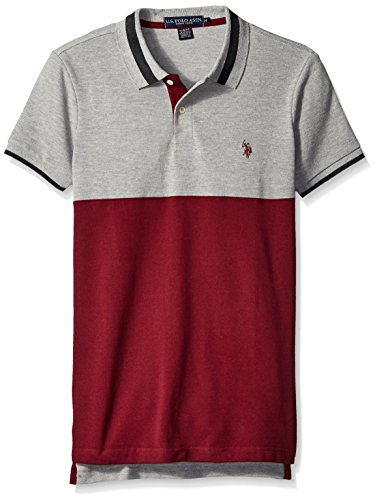 us-polo-assn-mens-short-sleeve-slim-fit-color-blocked-pique-shirt-seagrams-burgundy-large
