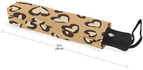 Akiraki 折りたたみ傘 レディース 軽量 ワンタッチ 自動開閉 メンズ 日傘 UVカット 遮光 豹 豹柄 可愛い かわいい アニマル ハート 折り畳み傘 晴雨兼用 断熱 耐強風 雨傘 傘 撥水加工 紫外線対策 収納ポーチ付き