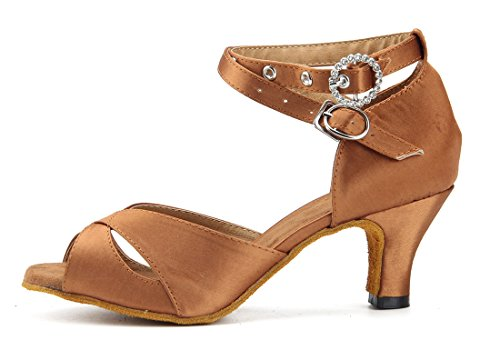 Tda Womens Cinturino Alla Caviglia Tacco Medio Raso Salsa Tango Samba Rumba Moderno Scarpe Da Ballo Ballo Latino Marrone-6cm Tacco