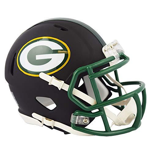 Green Bay Packers NFL Black Matte Alternate Speed Mini Football Helmet