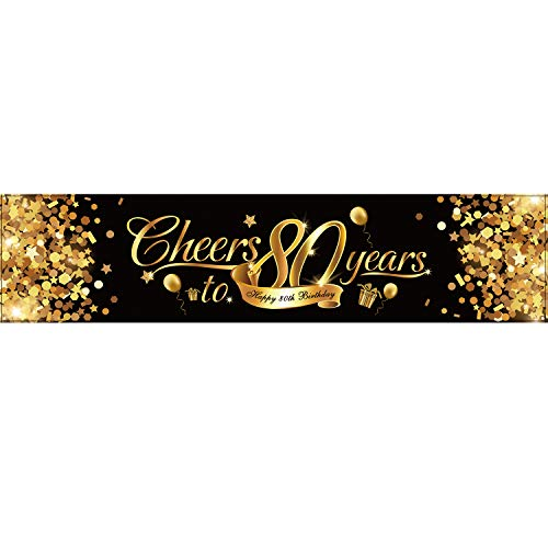 80th Birthday Banner, Happy 80th Birthday Cheers to 80 Years 80th Birthday Sign Gold Glitter Birthday Banner, Party Decoration Supplies for 80 Birthday