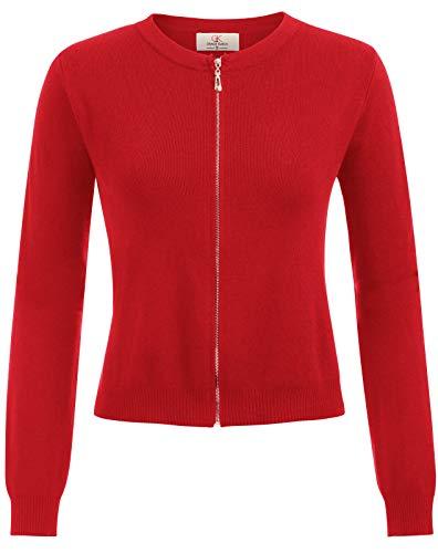 Long Sleeve Zipper Open Front Cropped Bolero Shrug Cardigan Red Size L CL871-4
