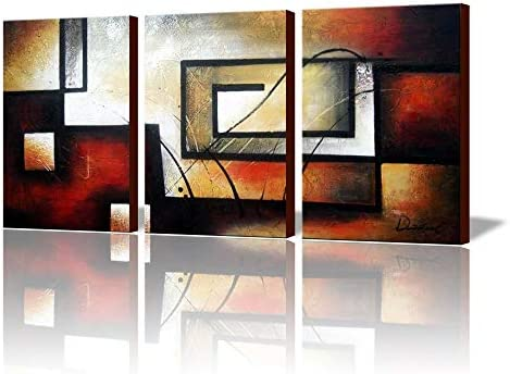 ARTLAND Modern 100 Hand Painted Abstract Oil Painting on Canvas The Maze of Memory 3-Piece Gallery-Wrapped Framed Wall Art Ready to Hang for Living Room for Wall Decor Home Decoration 36x72inches