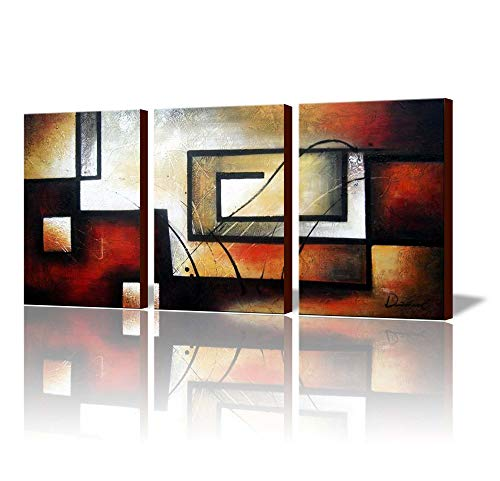 ARTLAND Modern 100% Hand Painted Abstract Oil Painting on Canvas The Maze of Memory 3-Piece Gallery-Wrapped Framed Wall Art Ready to Hang for Living Room for Wall Decor Home Decoration 36x72inches -
