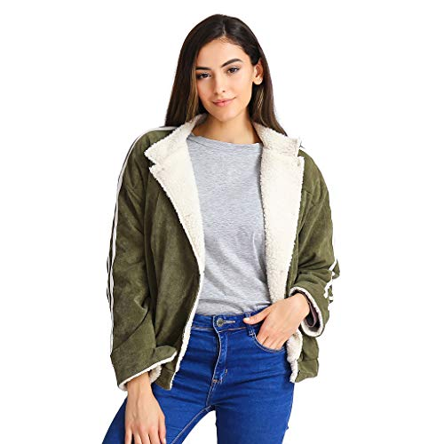 Zackate Women Solid Color Outwear with Pockets Cardigan Warm Striped Sleeve Button Down Coat Fluffy Jacket