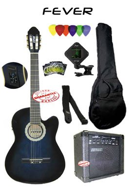 Fever Nylon String Acoustic Electric Guitar Blueburst Package 20 Watts Amplifier with Bag Chromatic Tuner Set Of Strings Strap and Picks 039CEQ-DBL-PACK