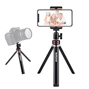 Fantaseal 2-in-1 DSLR Camera + Smartphone Mini Tripod Aluminum Alloy Table Desk Tripod Outdoor Travel Portable Tripod Stand Holder for iPhone 7/6 Huawei + Canon Nikon Camera/Comcorder Selfie Tripod