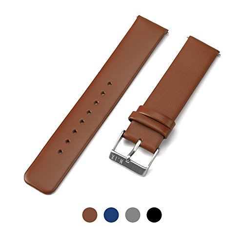 N.IX STUDIO - Quick Release Spring Bars Watch pins, Genuine Leather Watch Bands Top Calf Grain Leather Watch Strap 20mm with Silver Metal Pins Buckle for Men Women - Brown