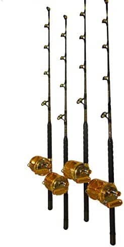 Combo (4) 80 Wide 2 Speed Reels and (4) 160-200 Lb. Blue Marlin Tournament Edition Fishing Rods
