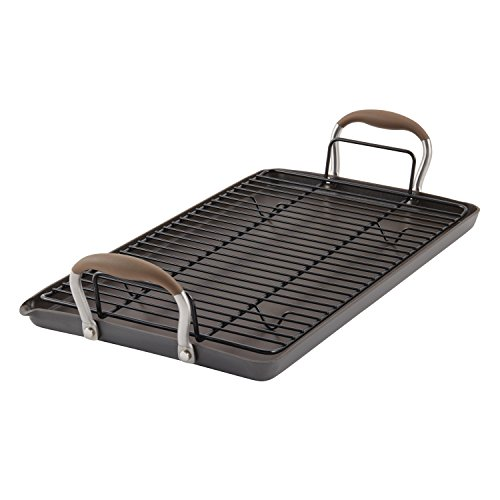 Pan Anolon Grill (Anolon Advanced Hard Anodized Nonstick Double Burner Griddle with Multi-Purpose Rack, 10-Inch by 18-Inch, Bronze)