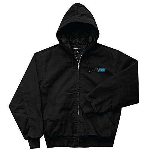 - NFL Carolina Panthers Cumberland Canvas Quilt Lined Hooded Jacket, Black, Large