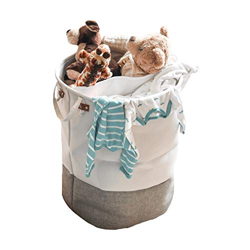 Cute Large Baby Laundry Basket with Divider White and Gray Great Hamper for Girls Or Boys Baby Room Furniture