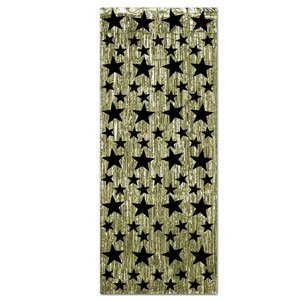 1-Ply FR Gleam 'N Curtain (gold w/prtd black stars) Party Accessory  (1 count) (1/Pkg)