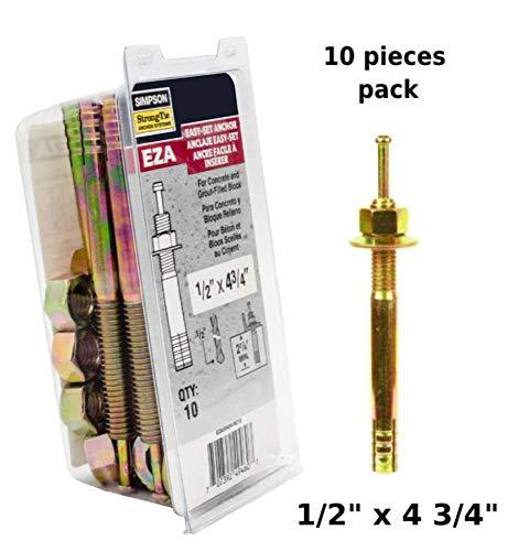Simpson Strong Tie Easy Set pin Drive Concrete Anchor 1/2 x 4 3/4 EZA50434 Expansion Anchor 10 per Box