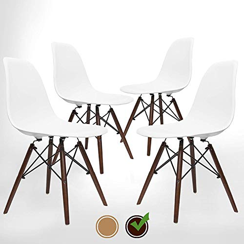 Dark Walnut Set Dining - UrbanMod Mid Century Modern Style Chairs The 'Easy Assemble DSW Ergoflex Abs Plastic and 'One Wipe Wonder' Cleaning Comfortable Dining Meets 5-Star, Set of 4 (Walnut)