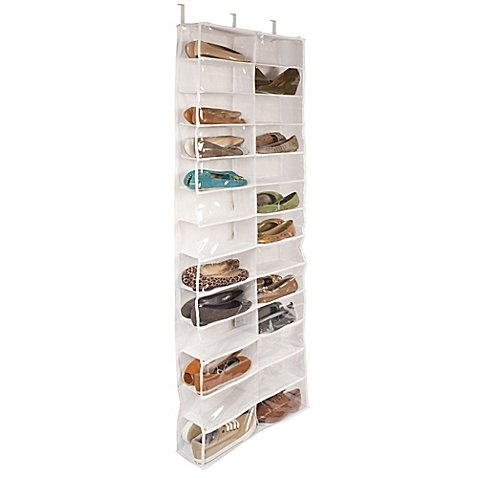 Closetware Clear Over-the-Door Clear Vinyl 26-Pocket Shoe Organizer, Hangs Over The Door With Included Hooks