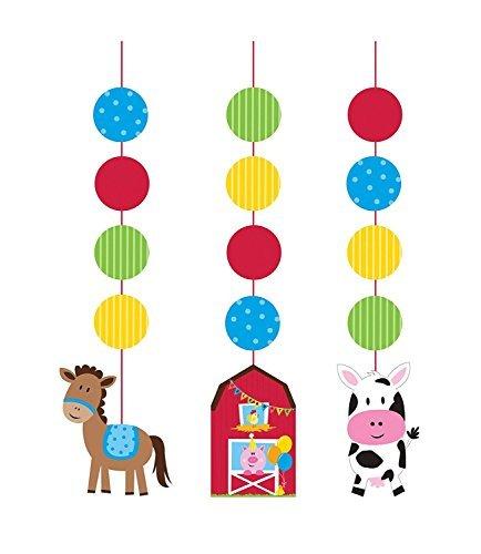 Creative Converting Farmhouse Fun Printed Hanging Cutouts (6 (Animals Hanging Cut Out)