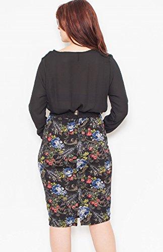 Bluebell La Femme Robe Crayon Wiggle Ceinture À Manches Longues Noir Floral