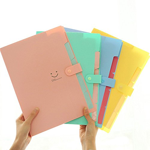 ZRSE 5 Pockets Plastic Expanding File Folders A4 Letter Size Snap Closure Paper Organizer Set of 4 (A4 Folder Size)