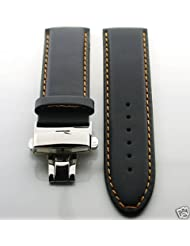 24mm Leather Deployment Strap for Omega Seamaster Os Blk #2