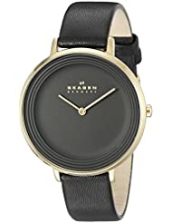 Skagen Women's SKW2286 Ditte Gold-Tone Stainless Steel Watch with Black Leather Band