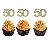 MZYARD Set of 36 Golden Number 50 Cupcake Toppers 50th Birthday Celebrating Party Decors