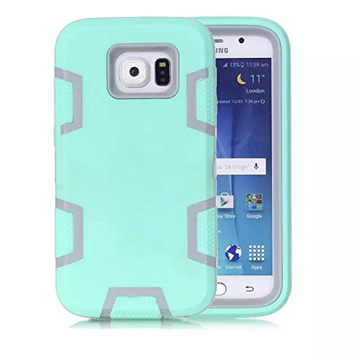 Galaxy S6 Case, Firefish 3 in 1 Hybrid Heavy Duty Shockproof Protective Cover Hard PC Rugged Soft Silicone Bumper Dual Layer Case for Samsung Galaxy S6 - Green (Urban Skull Snap)