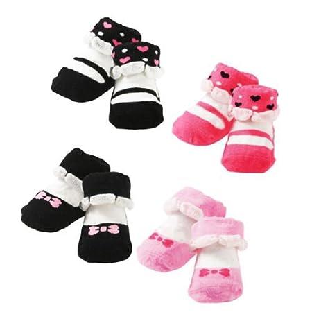 KF Baby Non-Skid Baby Girl Socks, 4 pairs, for 3-12 Months kilofly