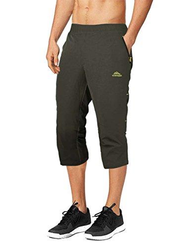 BIYLACLESEN Mens Slim Fit Jogger Shorts 3/4 Capri Training Sport Pants with Zipper Pocket Army 32