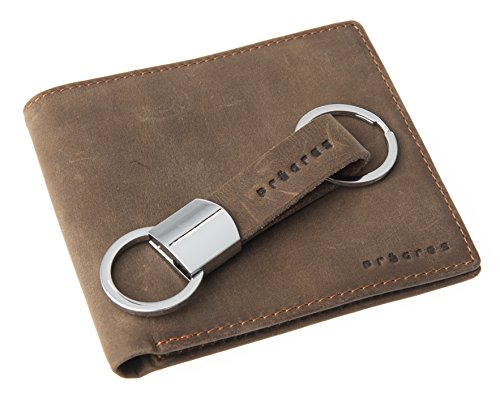 Genuine Leather Bifold Wallet & Keychain Gift Set for Men ()