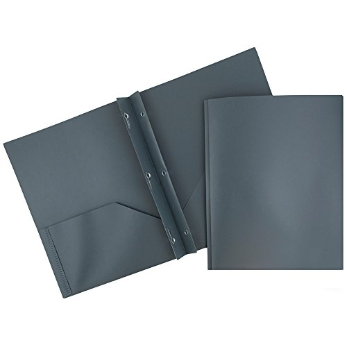 JAM Paper Plastic Eco Two Pocket Presentation Folder with Clasps - Gray - 6/pack