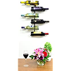 Superiore Livello Naples 6 Bottle Wall Mounted Wine Rack - Decorative Metal Shelf Storage with Modern Rustic Vertical Style in Black for Cellar, Party, Bar, Pantry - Sturdy Support and Rust-Free