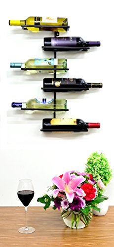 Superiore Livello Naples 6 Bottle Wall Mounted Wine Rack - Decorative Metal Shelf Storage with Modern Rustic Vertical Style in Black for Cellar, Party, Bar, Pantry - Sturdy Support and Rust-Free (Metal Naples)