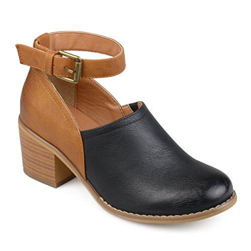 Journee Collection Womens Ankle Strap Wood Stacked Heel Clogs (8, Black/Brown) (Strap Clog Ankle Womens Casual)