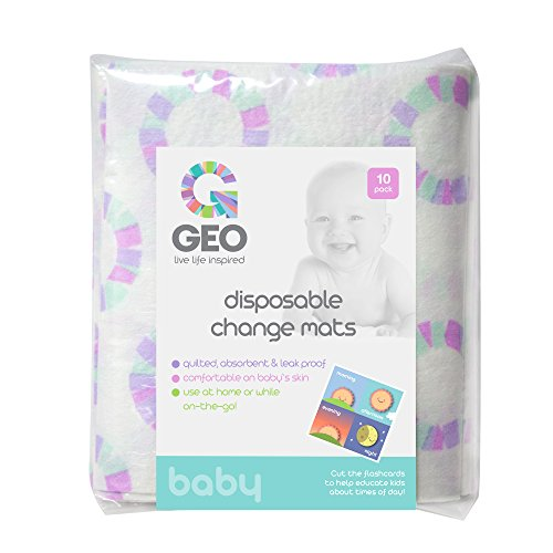 Disposable Baby Change Mats | Reusable | Quilted, Absorbent, Leak-Proof Diaper Changing Pads | 23 Inches x 16 Inches | 10 Pack ()