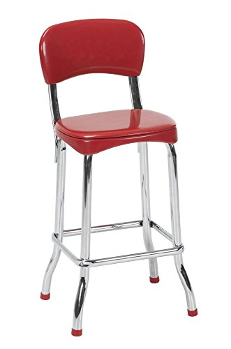 Cosco 37805RED2E Red Retro Chrome 2pc High Top Chairs, Red