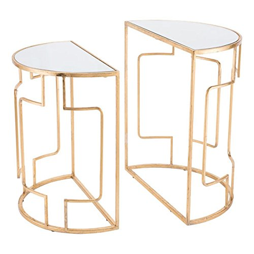 Side Table Modern Zuo (Zuo Roma Side Tables (Set of 2), Gold)