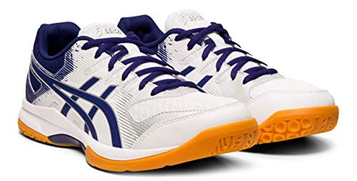 Big Blue Dive - ASICS Gel-Rocket 9 Women's Volleyball Shoes, White/Dive Blue, 8.5 M US