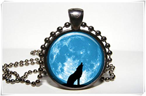 One Life ,one jewerly Full Moon Navy Blue Pendant Moon Necklace - Midnight Jewelry - Black Wolf Pendant 。 ()