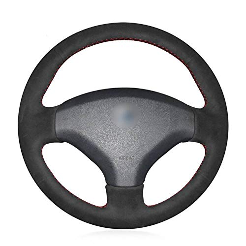 OPOPDLSA Black Genuine Leather Car Steering Wheel Cover for Old Peugeot 408 Peugeot 308: