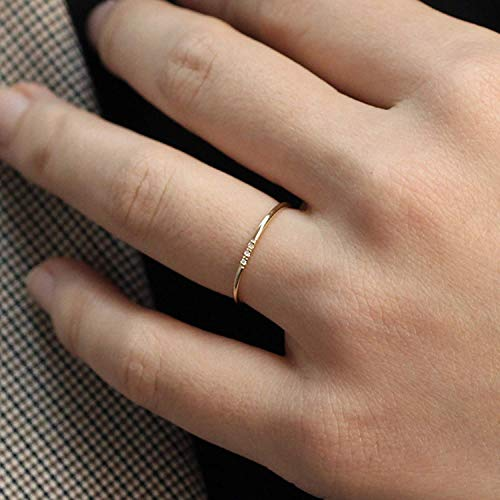 Minimalist Diamond Ring, 14k Solid Gold Diamond Band, 1.1mm Full Round Thin Ring with 1, 2, 3, 4 or 5 Stones 1mm Diamond, Wedding Engagement Ring