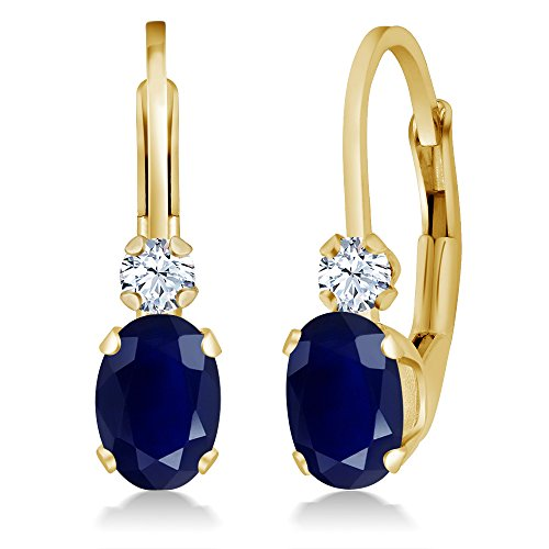 Gem Stone King 14K Yellow Gold Blue Sapphire and White Created Sapphire Earrings, 1.18 Ctw Oval Gemstone Birthstone