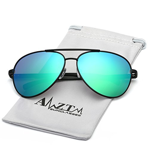 AMZTM Classic Double Bridge Fashion Al-Mg Metal Frame Flash Mirror REVO Lens Reflective Retro Polarized Aviator Sunglasses For Women and Men (Black Frame Blue Green Lens, - Black Aviator Sunglasses Reflective