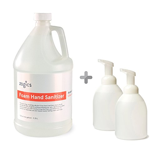 Hand Sanitizer 18 Oz Pump (Zogics Front Desk Foaming Hand Sanitizer Bundle, Alcohol-Free Foaming Hand Sanitizer + 2 Empty Table Top Dispensers)