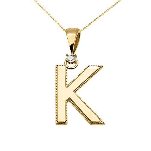 """Collier Femme Pendentif 10 Ct Or Jaune Poli Élevé Milgrain Solitaire Diamant """"K"""" Initiale (Livré avec une 45cm Chaîne)"""