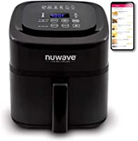 NuWave Brio 6-Quart Air Fryer with App Recipes (Black) includes basket divider, one-touch digital controls, 6 easy...